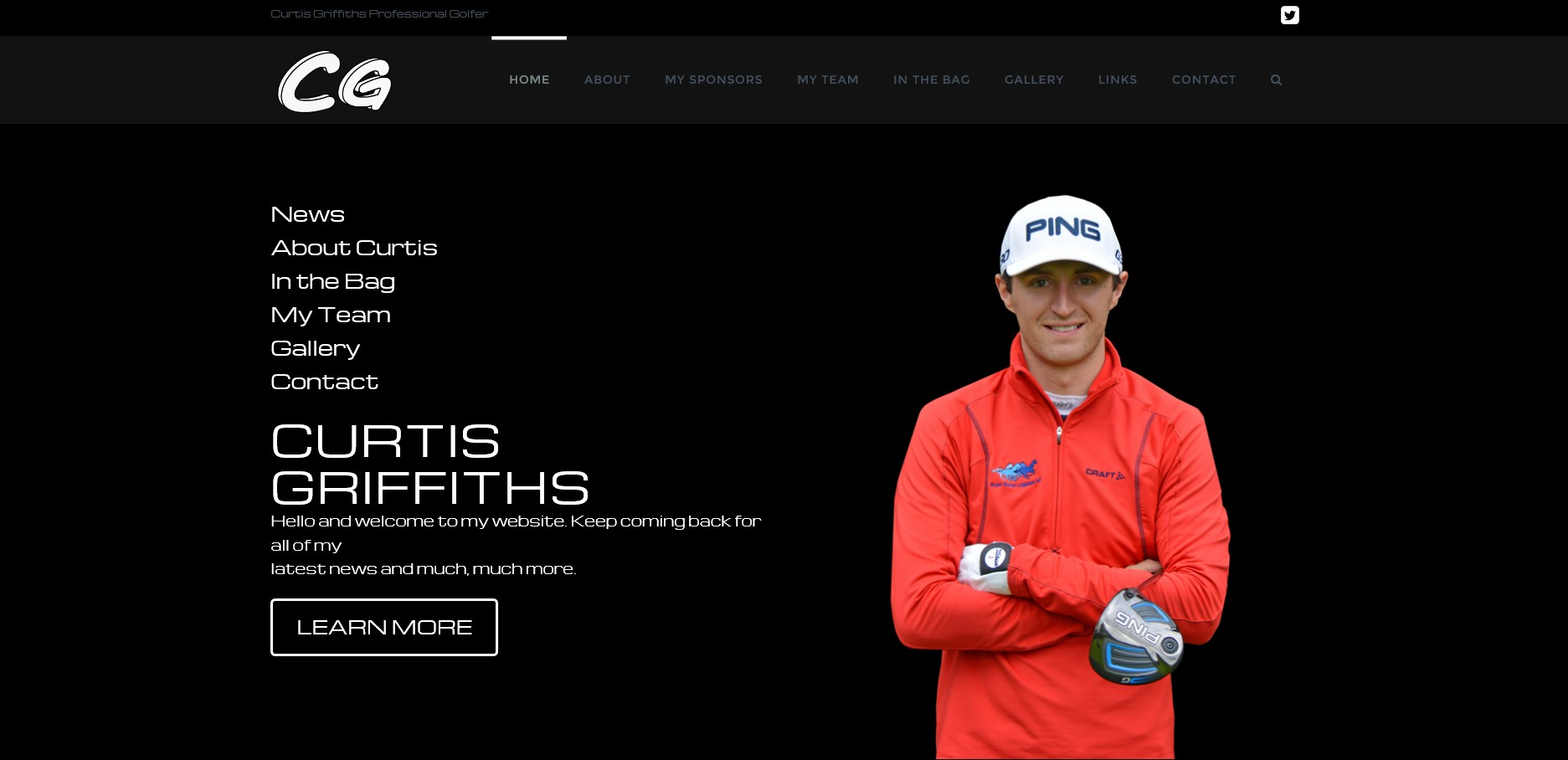 Curtis Griffiths Pro Golfer Website By T900 Website Design in Surrey