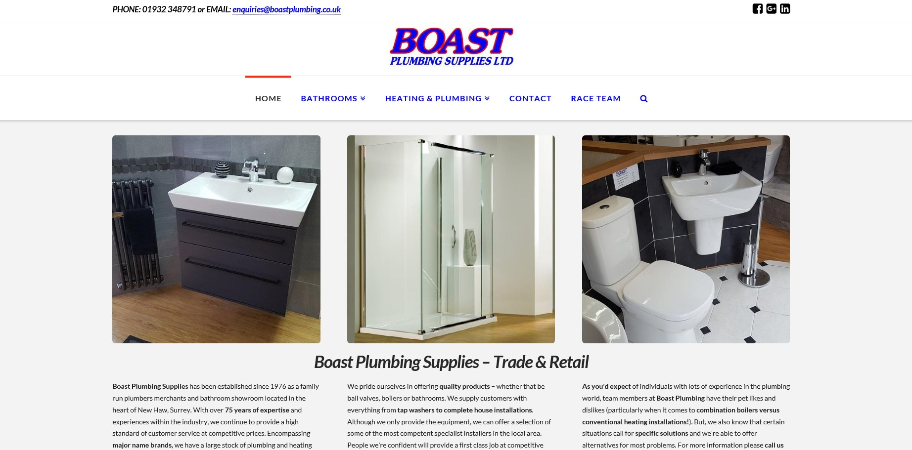 Boast Plumbing Website Website By T900 Website Design in Surrey