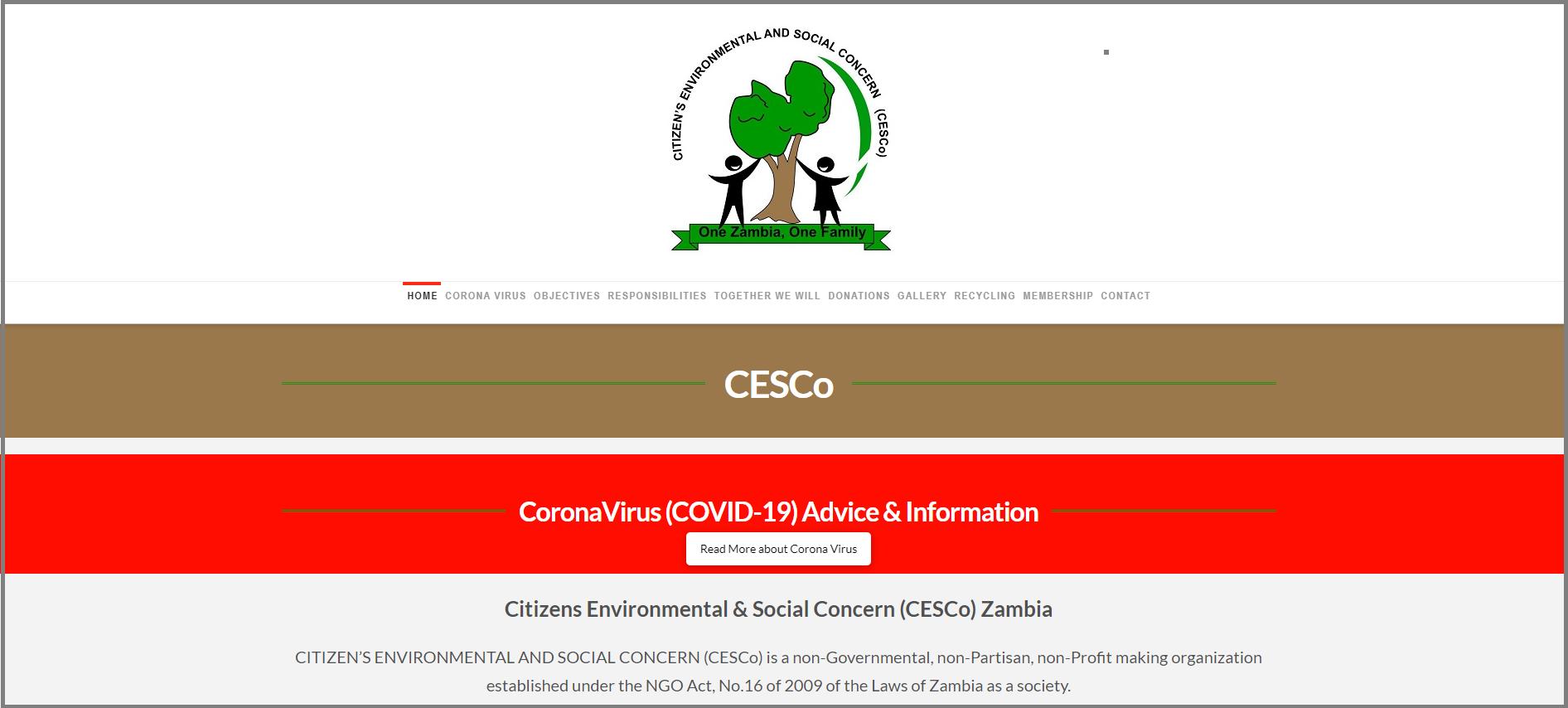 CESCo Zambia NGO Website By T900 Website Design in Surrey