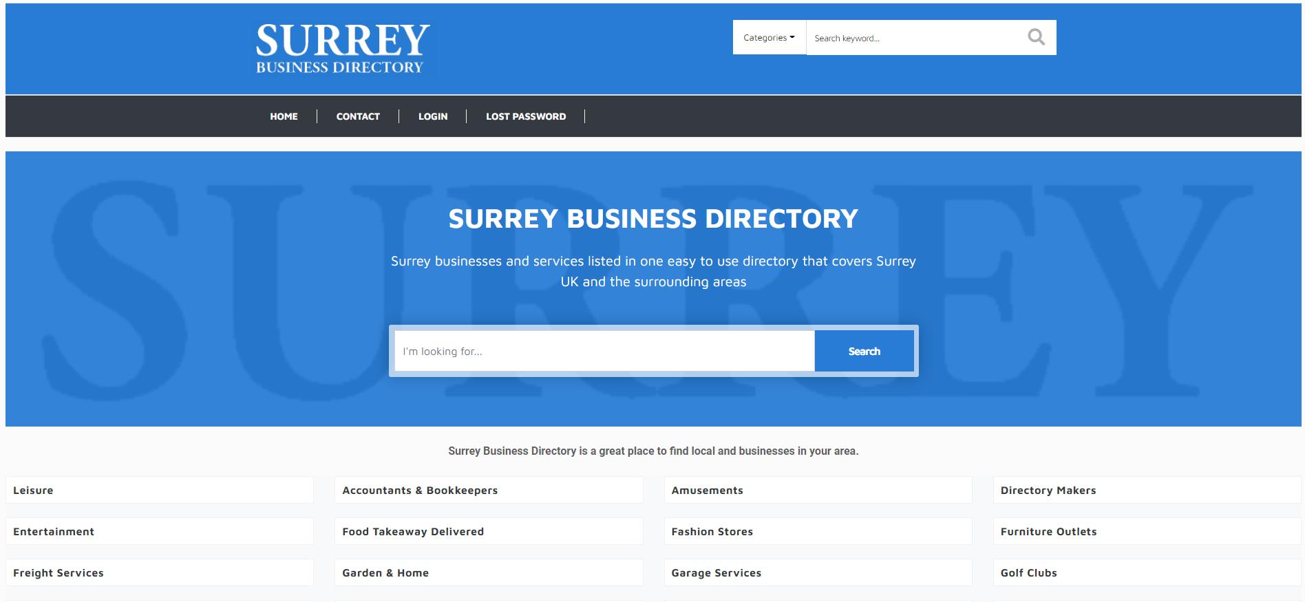 Surrey Business Directory Website By T900 Website Design in Surrey